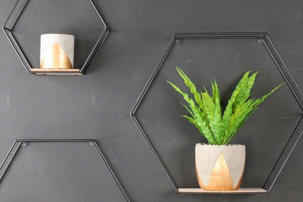 Hexagonal wall shelves